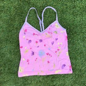 ❣️ Sisley pink purple floral stretch cami tank top